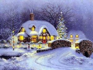 Grafika przedstawia dom udekorowany w świąteczne ozdoby zimą.